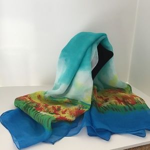 Accessories - BEACH THEMED BLUE YELLOW SCARF SARONG